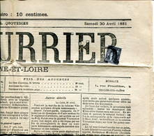 LE COURRIER De Saône Et Loire Du 30avril 1881 N° 9,927 Avec Timbre Type Sage - Zeitungsmarken (Streifbänder)
