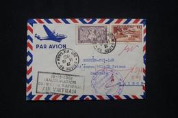 """VIETNAM - Cachet """" Inauguration Du Réseau National Air Vietnam """" Sur Enveloppe De Saigon En 1951, Voir Cachet  - L 95122 - Vietnam"""