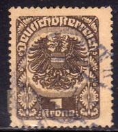 AUSTRIA REPUBBLICA REPUBLIC ÖSTERREICH 1920 1921 ARMS STEMMA ARMOIRIES 1K USED USATO OBLITERE' - Used Stamps