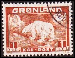 1938. Christian X And Polar Bear. 1 Kr. Light Brown.  (Michel 7) - JF417965 - Gebraucht