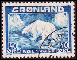 1946. Christian X And Polar Bear. 40 Øre Blue.  (Michel 27) - JF417966 - Gebraucht