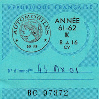 Taxe Fiscale Automobiles Vignette K 1961/1962  60 NF 8 à 16 CV - Revenue Stamps