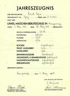 """Langerwehe Krs Düren Eifel 1940 Jahreszeugnis """" Ländl.Mädchenberufsschule Für Schülerin Aus Schlich"""" Dokument - Historical Documents"""