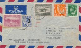 Nederlands Indië - 1947 - 5 Zegels Op LP-cover Van LBnr Medan/1 Naar Bern / Schweiz - Niederländisch-Indien