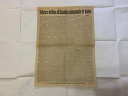 MANIFESTO IL DISCORSO DEL DUCE ALL'ASSEMBLEA QUINQUENNALE DEL REGIME COMMERCIANTI CM.42X57 - Posters