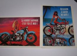 Refboite36 -  Vente Directe Moto Harley Davidson Lot De 2 Cartes Femme Sexy - Moto