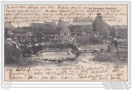 22)  Trégastel - Lavoir   - (animée - Laveuses - Oblitération De 1905) - Trégastel