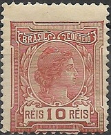 BRAZIL 1918 Liberty - 10r - Brown MH - Unused Stamps