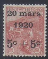 Monaco Mariage Princesse Charlotte Timbres De 1919 Orphelins 5 C.+5 C.s. 5 F.+5 F. N° 38* Neuf Avec Trace De Charnière - Neufs