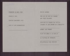"Menu Du 20 Mai 1984 "" Bertrand Warin Restaurateur - Menus"