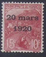 Monaco Mariage Princesse Charlotte Timbres De 1919 Orphelins 15 C.+10 C.s. Rose N° 39* Neuf Avec Trace De Charnière - Neufs
