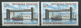 21372 FRANCE N°1564d**(Yvert) 25c. Rochefort : Re-entry Cadre Et Signature à Gauche + Normal  1968 TB - Varieties: 1960-69 Mint/hinged