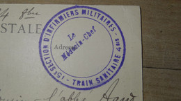 CP, FM, WWI : Cachet 15e Section D'infirmiers Militaires, Train Sanitaire 4bis   ............. 201101d-4132 - Guerra De 1914-18