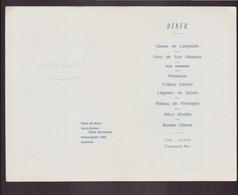 Menu Dîner Du 30 Avril 1964 - Menus