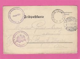 """Carte En FM Du Camp D'Alten Grabow Vers Flavy Le Martel (Aisne) """"Lieu De Destination Envahi"""" 1915 Gervais - 1. Weltkrieg 1914-1918"""