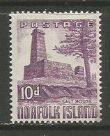 Norfolk Island  - 1953  Salt House 10d MNH **   SG 17  Sc 17 - Norfolk Island