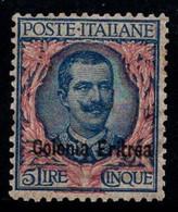 Érythrée 1903 Sass. 29 Neuf * 40% Roi Victor E. III, 5 Lires - Eritrea