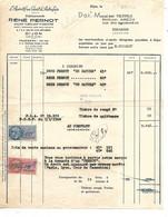 Facture 1950  / 21 DIJON /  R PERNOT /  Liqueurs / Apéritif PERNOT / Ancien Fabricant Absinthe / Timbres Fiscaux - Alimentos