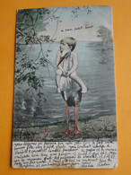 """BÉBÉ -- Bébé  Sur Le Dos D'une Cigogne - Dessin De E. Ernst - Cpa """"précurseur"""" Circulé 1904 - Bebes"""