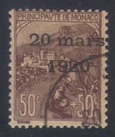 Monaco Mariage Princesse Charlotte Timbres De 1919 Orphelins 50 C.+50 C.s. Lilas-brun S. Orange N° 41 Oblitéré - Oblitérés