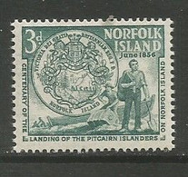 Norfolk Island  - 1956  Pitcairners Landing 3d MNH **   SG 19  Sc 19 - Norfolk Island