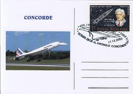 TRANSPORT, CONCORDE, SUPERSONIC PLANE, SPECIAL POSTCARD, 2003, ROMANIA - Concorde