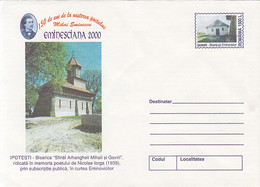 IPOTESTI CHURCH, MIHAI EMINESCU, WRITER, COVER STATIONERY, ENTIER POSTAL, 1999, ROMANIA - Enteros Postales