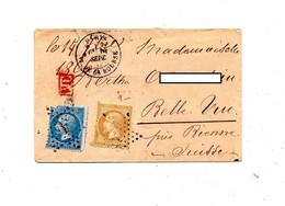 Lettre Cachet Etoile Paris Sur Napoleon + Bienne  + PD Rouge - 1849-1876: Periodo Clásico