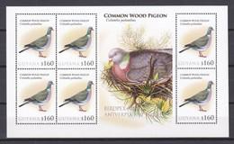 Guyana - MNH Sheet BIRDPEX ANTWERP 2010 - COMMON WOOD PIGEON - Palomas, Tórtolas