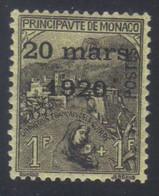 Monaco Mariage Princesse Charlotte Timbres De 1919 Orphelins 1 F.+1 F. Noir S. Jaune N° 42* Neuf Avec Trace De Charnière - Neufs
