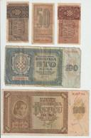 Croatia WWII NDH 1942/43 50 Banica, 1, 2, 100, 1000, 5000 Kuna Banknotes Mp210320 - Croatia