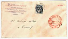 COMMERCY Meuse Lettre Receveur Municipal 1c Blanc Yv 107 Ob 1927 Marque Préfecture Env Américain Guerre Soldier's Mail - 1900-29 Blanc