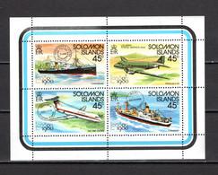SALOMON  N° 406 à 409     NEUFS SANS CHARNIERE  COTE 4.00€     BATEAUX AVION EXPOSITION PHILATELIQUE - Solomon Islands (1978-...)