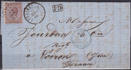 Belgie  .  OBP  19A  Op Brief   .    LP 374  (2 Scans)     .   O   .   Gebruikt   .   / .   Oblitéré - 1865-1866 Linksprofil