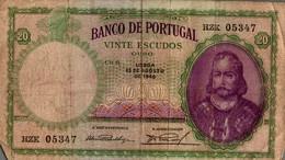BILLET PORTUGAL 20 ESCUDOS DE 1946 - Portugal