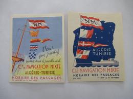 ALGERIE : HORAIRE Des PASSAGES Des BATEAUX 1952 Entre FRANCE Et ALGERIE-TUNISIE Et Brochures Touristiques, Plans - Dépliants Turistici