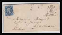 2121 Haute-Vienne Napoléon N°22 Gc 2049 Limoges Pour Jarnages Creuse 26/5/1866 LAC Lettre Cover France - 1849-1876: Classic Period