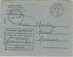ENVELOPPE ENREGISTREMENT DOMAINES ET TIMBRE OBLITERATION AVESNES SUR HELPE 17/06/38 + DOCUMENT - 1921-1960: Moderne