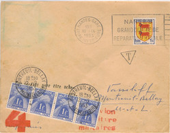 1F BLASON BEARN LETTRE GREVE OBLITERATION NANTES GARE 10/9/53 TAXEE BANDE 4X 1F POSTES - 1921-1960: Moderne