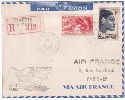 OCEANIE - 1950 - ENVELOPPE RECOMMANDEE De PAPEETE (TAHITI) - 1° VOL AIR FRANCE => PARIS - Lettres & Documents