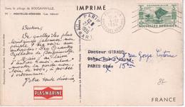 NOUVELLES-HEBRIDES - 1954 - CARTE POSTALE MEDICALE PLASMARINE De PORT VILA => PARIS - Storia Postale