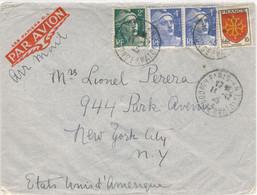 2F + PAIRE 4F GANDON 10F BLASON LANGUEDOC TARIF 20F LETTRE AVION USA 2ème ECH  11/12/45 (4f Lettre étranger 2x8f S.A.) - 1921-1960: Moderne