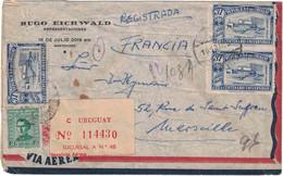 Uruguay - Montevideo - Lettre Avion Recommandée Pour La France (Marseille) - Entête - Hugo Eichwald - 11 Septembre 1950 - Uruguay