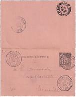 MADAGASCAR / MARITIME ! - 1895 -  CARTE-LETTRE ENTIER COLONIES GENERALES ! De TAMATAVE => MARSEILLE - Alphée Dubois