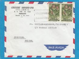 "CONFISERIE ABINADER-SPIR ,ABIDJAN. LETTRE AVEC TIMBRES ""FLEURS EULOPHIA CUCULLATA"". - Ivory Coast (1960-...)"