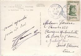 8f PETRARQUE TARIF CARTE POSTALE 5 MOTS OBLITERATION PARIS 30 17/12/56 - 1921-1960: Moderne