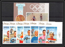 Ajman - 2557b/ N°354/360 B BF N° 77 B Velo Cycling Cyclisme ** MNH Tandem Racing 1969 Anquetil Merckx Non Dentelé Imperf - Cycling