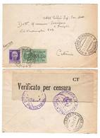 WQ211   Regno 1942 - Busta Da Palermo Per Catania, Timbri E Fascetta Verificato Per Censura - Marcofilía