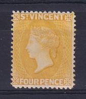 St Vincent: 1890/93   QV     SG56     4d   Yellow     MH - St.Vincent (...-1979)