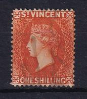 St Vincent: 1890/93   QV    SG58     1/-   Orange   Used Fiscal - St.Vincent (...-1979)